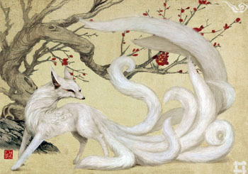 A kitsune is a Japanese fox spirit, often with many tails.