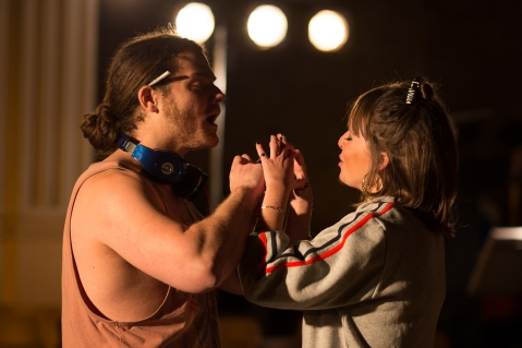 Roberto Abate (L) and Caroline Kennedy (R)  as Fenton and Nanetta. Photography by Matthew Coughlan.