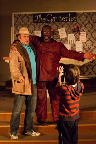 "Oliver Gibbs (L) as Ford (disguised as ""Fontana""); Keel Watson (R) as Falstaff. Photography by Matthew Coughlan."