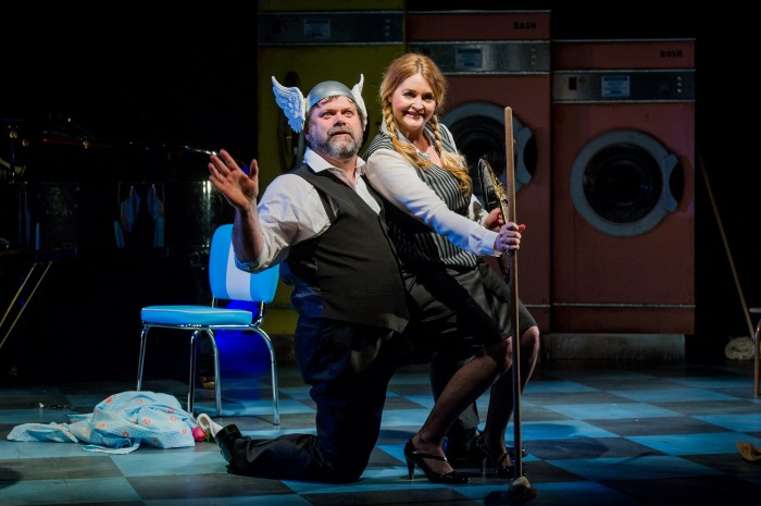 The Rinse Cycle - Unexpected Opera - Charing Cross Theatre - 15 February 2016Music Director - Kelvin Lim Director - Lynn Binstock Designer - Nancy Surman Lighting Designer - Tom Mannings  Hilda - Mari Wynn Williams Robin - Anna Gregory Edith - Harriet W